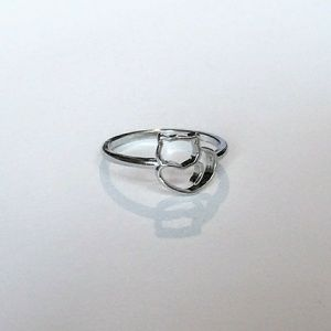 Size 6 925 Sterling Silver Cat Heart Ring